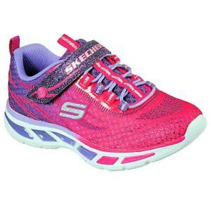 Skechers Girls' Light-Up Sneakers S-Lights Hot Pink Purple Choose Size