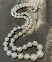 Antique 9ct Pearl Necklace, Graduated Pearls with 9k pearl set clasp