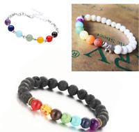 7 Chakra Healing Beaded Bracelet Natural Lava Stone Diffuser Bracelet Jewelry uk