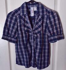 Girl Krazy S/S V-Neck Button Front Plaid Shirt -S