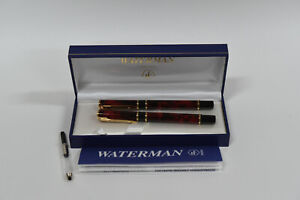 Waterman Laureat MKII Minera Red Marble with Gold Trim Fountain Pen and Pen Set