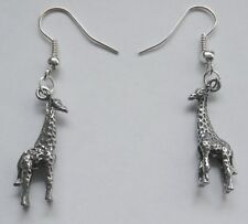 Earrings #2222 Pewter LITTLE GIRAFFE (26mm x 10mm)