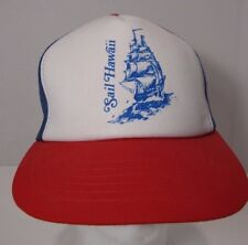 Vtg Hawaii Sail Snapback Hat Cap Red Trucker Mesh Blue Sailboat Surf Beach