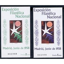 ESPAÑA SPAIN 1222/23 HOJITAS SIN DENTAR EXPOSICION BRUSELAS 1958 MISMO NUMERO
