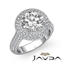 2 Row Halo Pave Set Round Cut Diamond Engagement Ring GIA F SI1 Platinum 2.5ct