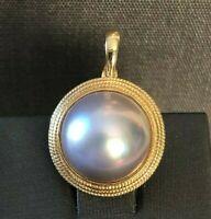 14K Gold Pink Pearl Pendant-Estat- Incredible High Luster-Mauve-Classic Enhancer