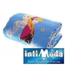 Trapuntino Caleffi Frozen Azzurro Elsa primaverile estivo 170x265cm puro cotone