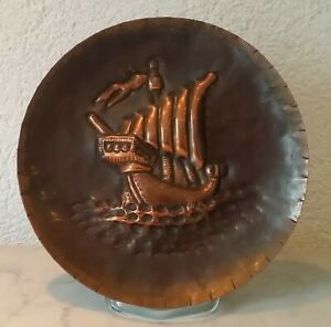 Age Wall Plate Copper Platter Plate Ship Sailing Ship Viking Relief 139g