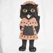 Large vintage German die cut embossed Black Cat Maid Halloween decoration fair