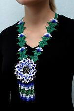 Huichol Necklace, Native American Necklace, Native Beaded Necklace, Flower