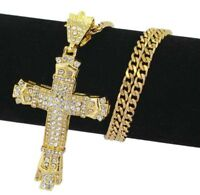 Fashion Mens Stainless Steel Cross Pendant Punk Hiphop Necklace Chain Jewelry