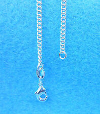 """1PCS 22"""" Wholesale Fashion Jewelry 925 Silver Plated Flat Curb Chain Necklaces"""