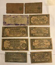 10 DIFFERENT GUERILLA WAR NOTES - AUTHENTIC VINTAGE PHILIPPINE PAPER MONEY  #26