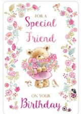 Open Female~ Special Friend Birthday Card~ Bouquet Bear By Greetings ~ Free P&P