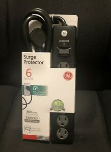 Black Surge Protector GE Power Strip 6 Outlets 6 ft Long Cord Swivel NEW #33661