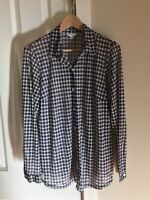 CABI Women's Navy Print Sheer Long Sleeves Button Down Blouse Shirt Size Large.