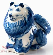 Porcelain German or Japanese Spitz Dog Figurine Souvenir Gzhel colors handmade