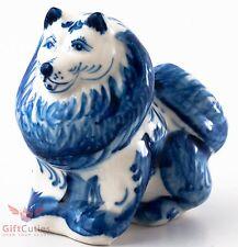 Porcelain German or Japanese Spitz Dog Figurine Souvenir Gzhel colors handmade
