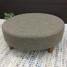 LARGE ROUND COFFEE TABLE OTTOMAN FABRIC SIDE STOOL FOOT REST 90CM NATURAL BROWN