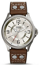 Fossil FS4936 Recruiter Beige Dial Brown Leather Strap Men's Watch