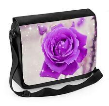 Purple Rose Laptop Messenger Bag - Floral Flower Poppies