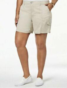Style&Co Women's Cargo Shorts, Black or Beige Plus Sizes 14W/16W/18W/24W