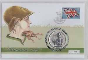 2006 SILVER ONE OUNCE BRITANNIA COIN & STAMP COVER IN GATEFOLD PLASTIC CASE