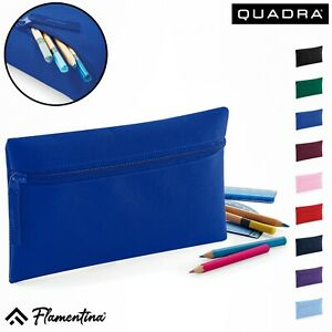 Kids School Pencil Case Quadra Junior Office Stationary Zipper Polyester Case