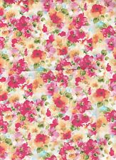 Tissu thermocollant Feuille A4 Fleurs Iron-on patch Fabric Water Color Floral