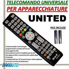 TELECOMANDO UNIVERSALE PER APPARECCHI MARCA UNITED - INVIARE CODICE MODELLO TV