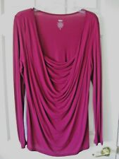 Womens Long Rayon Magenta L/S Slinky Drapey Top Size L