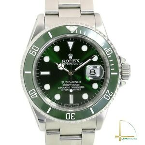 Men's Rolex Submariner 40mm Stainless Steel Watch Green Dial & Insert