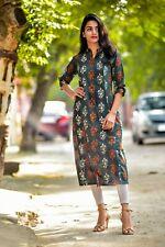 Designer Casual Wear Collared Tunic Designer Cotton Kurta Women's Straight Kurti