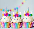 15 unicorn rainbow horn ears edible cupcake cake toppers fairy birthday 1st 5th
