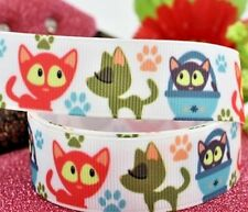 "GROSGRAIN RIBBON 7/8"" CATS KITTENS CARTOON PETS Printed ( FREE SHIPPING )"