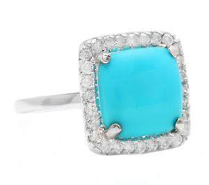 3.60 Carats Natural Turquoise and Diamond 18K Solid White Gold Ring