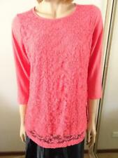 SUZANNE GRAE Bright Orange Lace Cotton Top Sz M BNWT