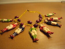 Unusual Detailed Vintage Celluloid Necklace Rugby Players w/Footballs Sports EVC