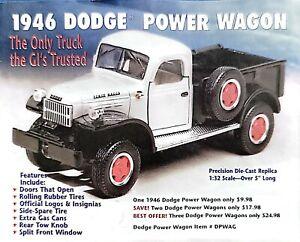 New 1946 Dodge Power Wagon National Motor Museum Mint Die-Cast 1:32 New IOB