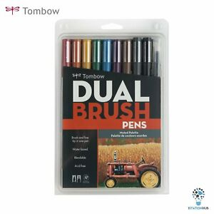 Tombow Dual Brush Pens | Arts Craft Colouring Hobby Artist - Muted Palette