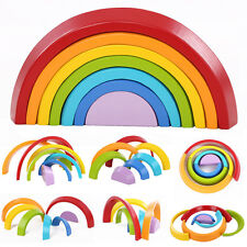 7 Colors Wooden Stacking Rainbow Shape Child Kids Educational Toy Creative Gifts