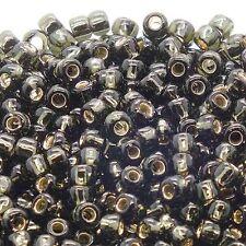 Toho Seed Beads 6/0 - Dark Silver Lined Black Diamond - 10g