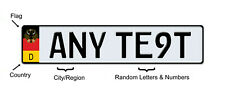 EUROPEAN STYLE Vanity license plate Tag ANY TEXT or Number, Custom Flag, GERMAN