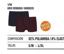 Pack 2 calzoncillos Boxers Unno microfibra hombre gris Verdoso-burdeos S/M