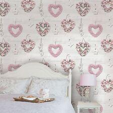 Gracie Floral Corazones Papel Pintado - Rosa / gris - Holden Panel de madera