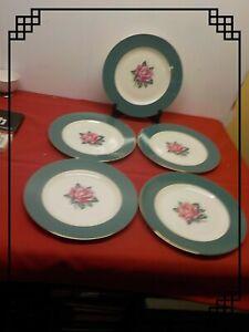 """Homer Laughlin Cavalier Eggshell Empire Green 5 10"""" Dinner Plates b 55  n 5"""