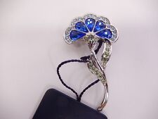 Signed Swarovski Brooch Crystal Blue Flower Rhodium Plated