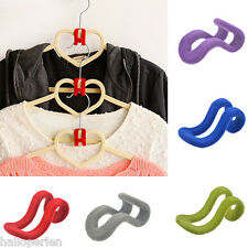 10PCS Charm Useful Home Mini Flocking Clothes Hanger Connection Hook Organizer