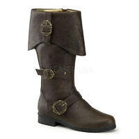 CARRIBEAN-299 MEN'S Carribean Pirate Sparrow Captain Brown Costume Knee Boots
