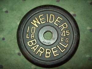 (1) vtg WEIDER BARBELL 10 BodyBuilding TRAINING STRONGMAN YORK Fitness GYM IRON